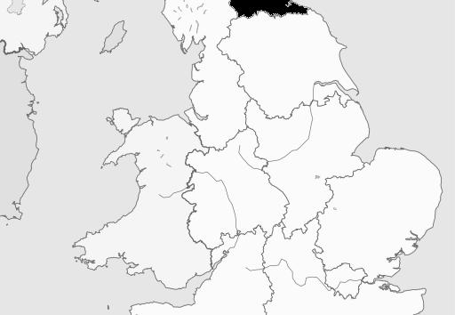 Map of North East England Region