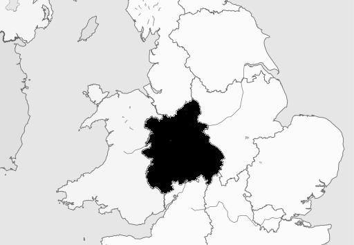 Map of West Midlands Region